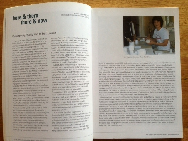 The Journal of Australian Ceramics, 44/3 November 2005, by Donna McColm. 'Here & There There & Now: Contemporary ceramic work by Kenji Uranishi'