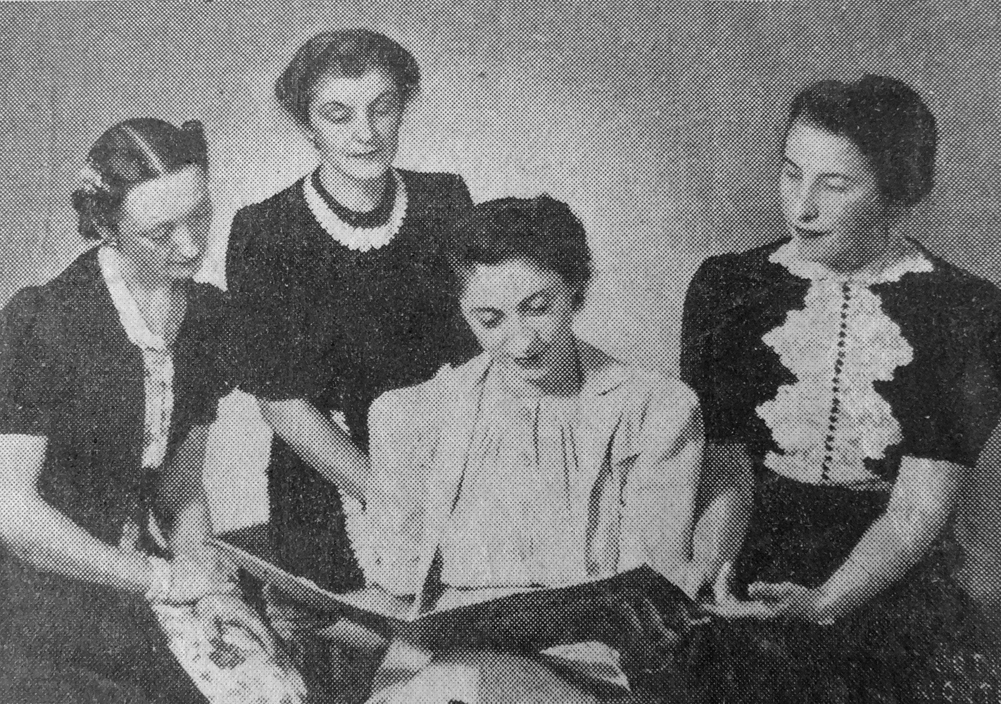 Three female solo pianists, from left to right, Gilberte Martin, Edna Marie Hawkin and Olga Guilemof and Ethel Stark