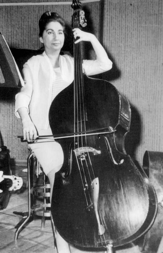 Nathalie Clair Feldman at a symphony rehearsal, double bass