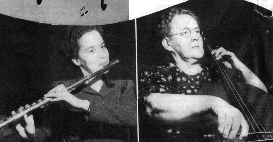 Members of the MWSO,  Maclean's Magazine , Feb. 1, 1946, (Brenda Rubin on flute, and Marie Braseau on cello)