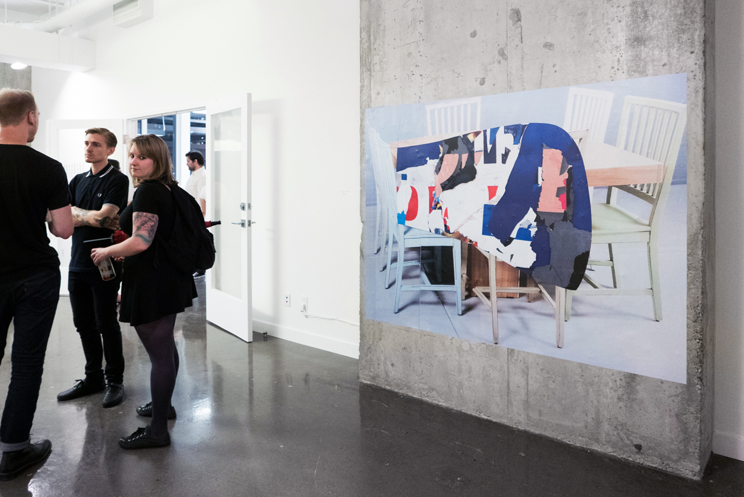 "Table Top   (installation view at YTB gallery, Toronto),   Polina Teif and Shannon Garden-Smith,   74"" x 55.5"", digital adhesive vinyl print,  2015"