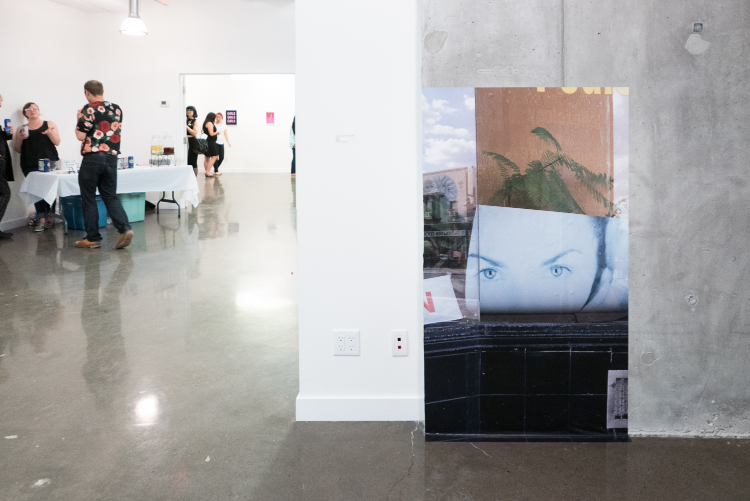 "Face Up   (installation view at YTB gallery, Toronto),   Polina Teif and Shannon Garden-Smith,   60"" x 34"", digital adhesive vinyl print,  2015"