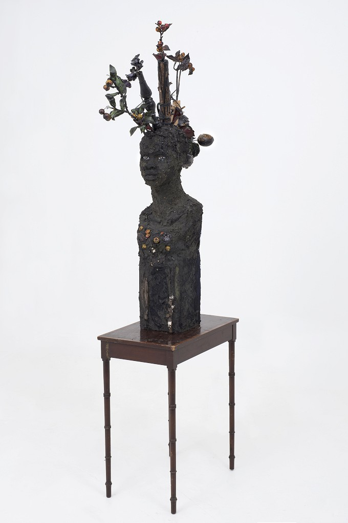 Wangechi Mutu -   Flower head , 2015. Mixed media 111.8 x 81.3 x 33 cm, Courtesy the Artist and Victoria Miro, London - Goodman Gallery