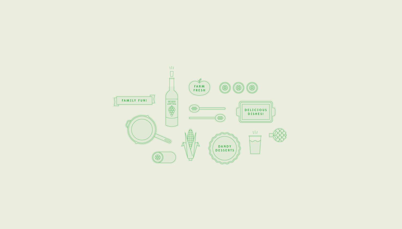 Icons for a potluck invitation.