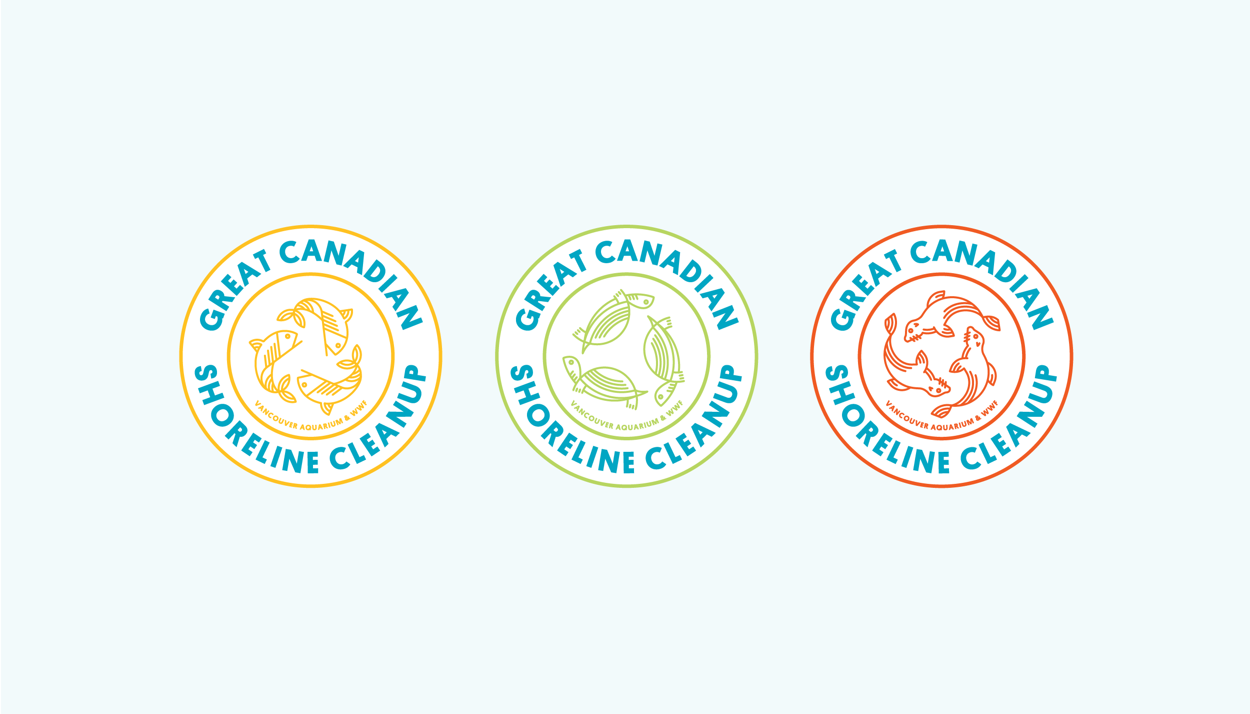 Referencing a seal of approval, this concept presents a logo variation for each category of species affected. The infinity notion speaks to the on-going 'reduce re-use recycle'process.