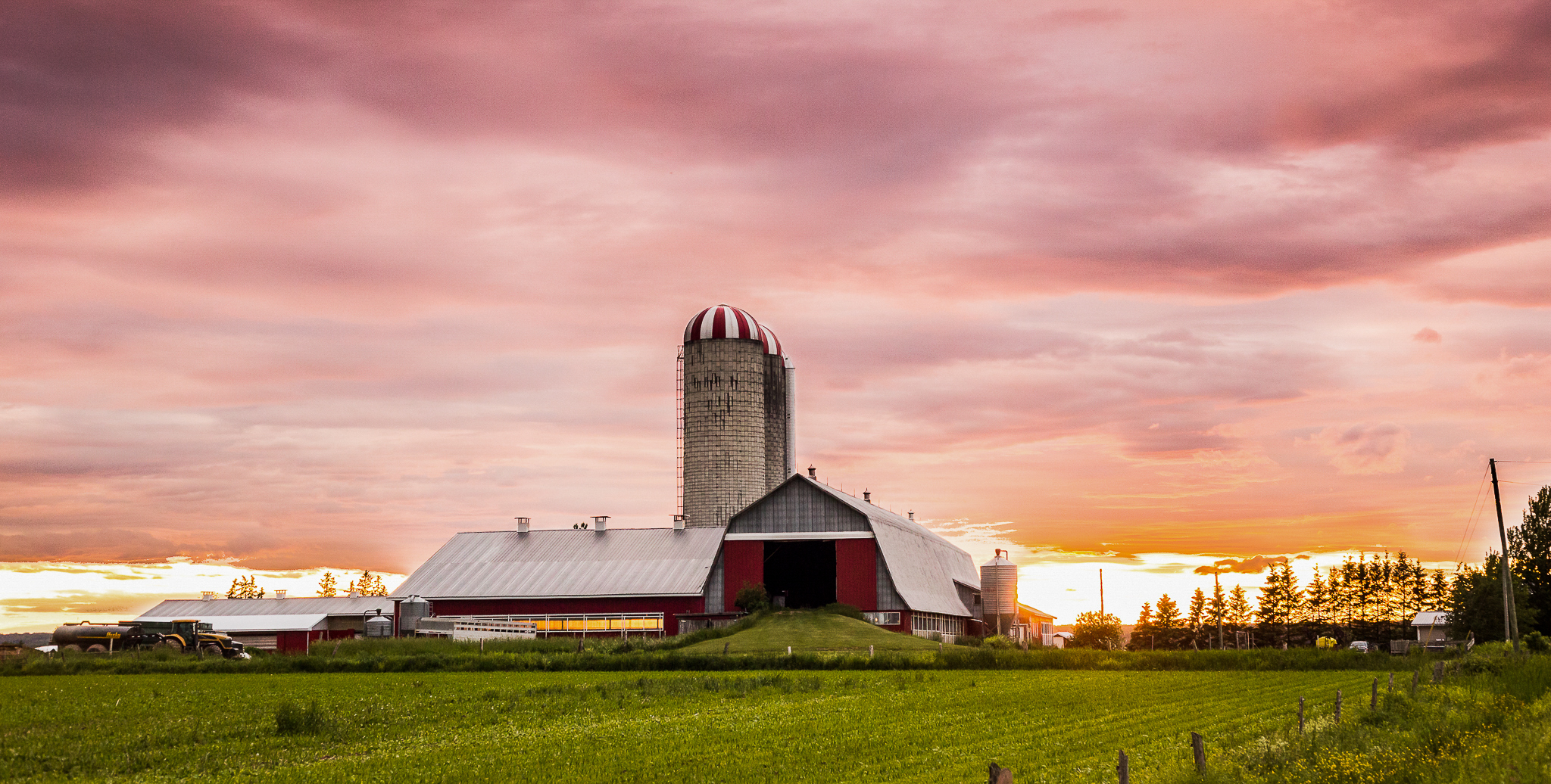 Image of a Dairy farm at sunset in Moncton NB