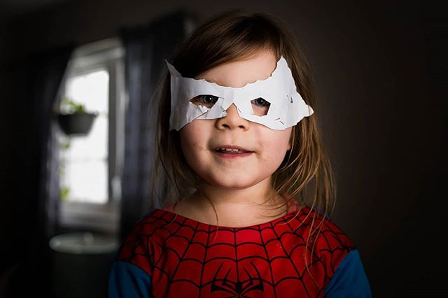 """Raine: """"mommy,  I made my own baby Jack Jack mask"""" 🌟 Me: """"oh cool Raine! How did you get it to stay on your face? """" 🌟 Raine """"with glue!"""" #tarageldartphotography #monctonphotographer"""