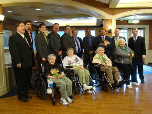 From left to right; David Riley, Michael Koeller, Nicholas Batzell, Andrew Grove, Eric Spector, Brian and Kevin from King Solomon's Lodge, Christopher Duggan and Loretta, Jeremy Gross and Jeremy Sher.