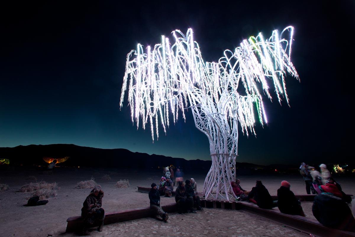 Charles Gadeken art   AURORA   interactive LED willow tree