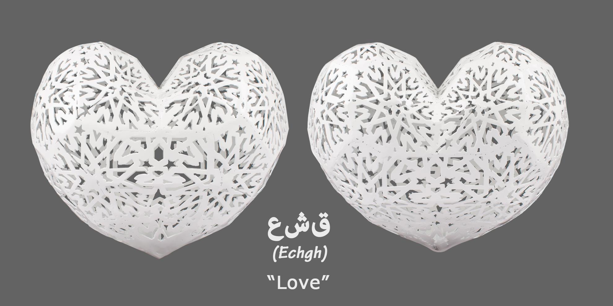 عشق (Echgh) is a symbol of love for my Iranian wife and daughter, and a continuation of my monumental work روشنايى(Roshanai). 2016