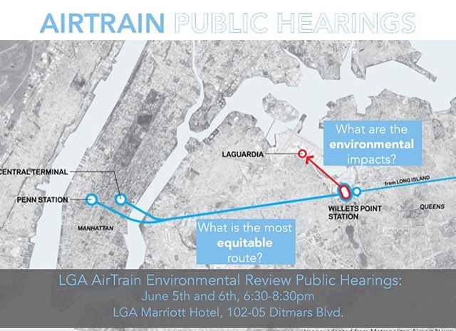 June 5th and 6th from 6:30-8:30PM we need you to show up at the LGA AirTrain Environmental Review public hearings at the LGA Marriott, 102-05 Ditmars Blvd. Our friends at #SensibleWaytoLGA, #GuardiansofFlushingBay, @riverkeeper, and many more local civic groups will be sharing their concerns about the Environmental Impact Statement (EIS) for the bizarre plan to create an above ground rail link from LGA Airport to the Mets-Willets Point subway/LIRR station. Check out the images above for a full rundown on what the EIS process means, why it's important, and how you can get involved. . We're concerned that the preferred AirTrain route would be built over the west end of the Flushing Bay promenade, between the Grand Central Parkway and waterfront, limiting access from neighboring communities to the Bay, and neglecting climate resilience. Legislation that passed last year uses eminent domain to take away parkland from Flushing Meadows - Corona Park for the AirTrain, an archaic process that deliberately removes local government and public feedback from the planning process. Some alternatives to the LGA AirTrain plan that are being ignored by Port Authority and the Federal Aviation Administration include bus rabid transit, an N line extension, and/or a ferry. . From the perspective of @flushingbayandcreep we feel NO AIRTRAIN is the only equitable option for our community in north Queens. To keep it really real, after experiencing instances of sexual assault and harassment on the west end of the promenade we know that less access, more shadows cast by the rail link, and a perspective that the waterfront is just a place for large and intimidating concrete infrastructure will only hurt our neighborhood. . Click the link in our bio for more information about the June 5th and 6th scoping meetings, and how to submit comments online before 5PM on June 17. + there's free parking for both meetings. 💙💦