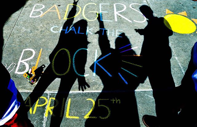Good morning! Come to Badgers Chalk the Block today from 10am-3pm on Library Mall! Join us for a chalk drawing competition, t-shirt tie-dying, and tons of free food!