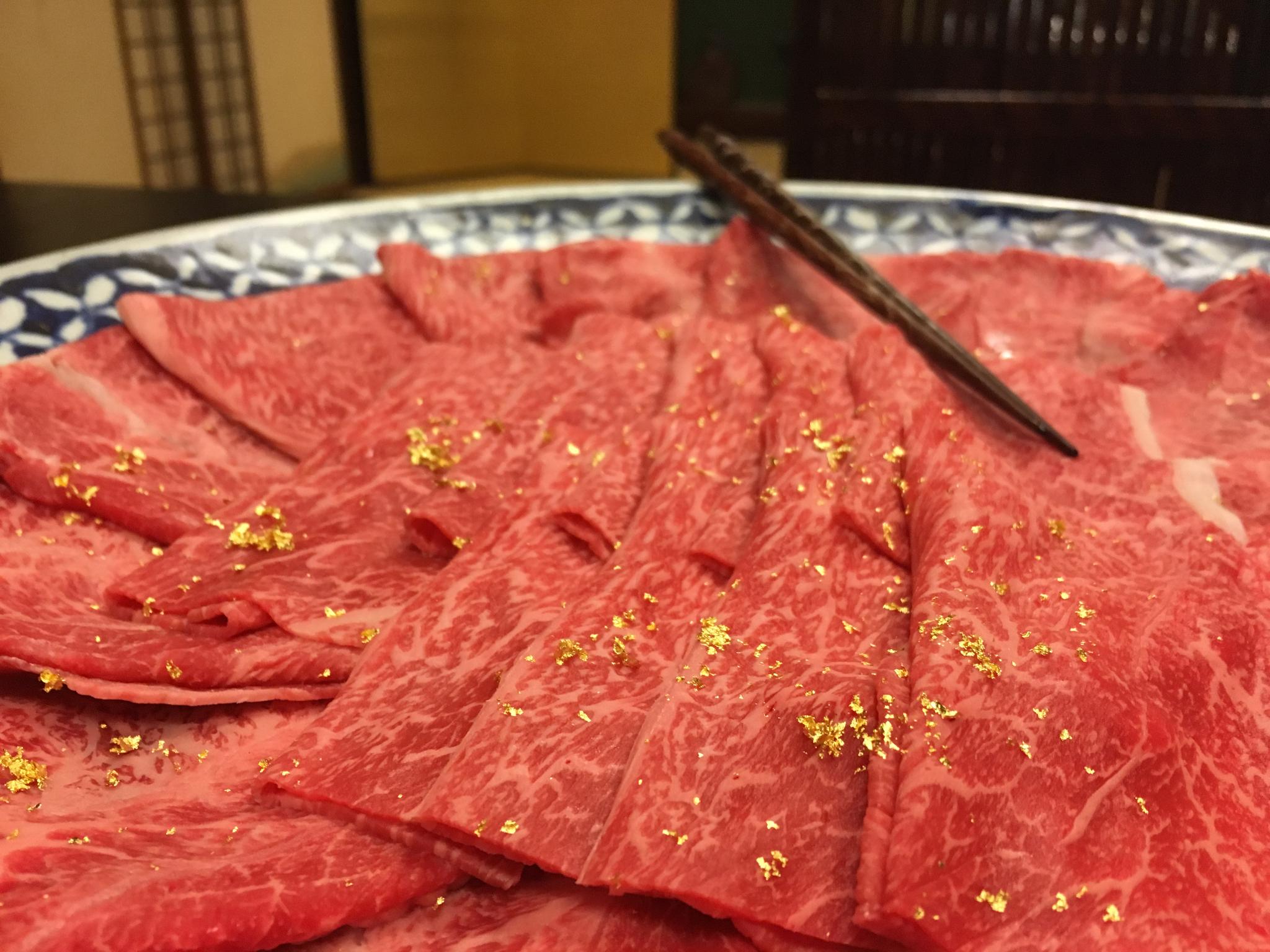 Yes, that's gold leaf on our hida beef for shabu shabu