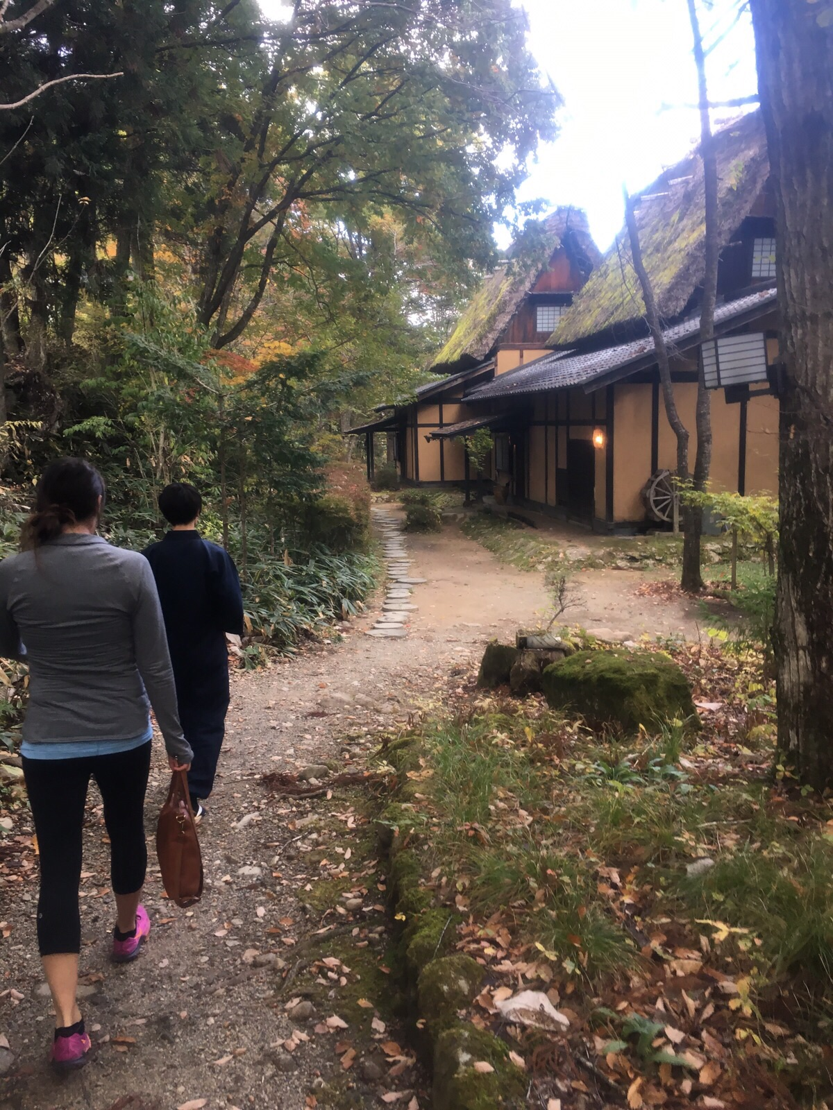 Walking to our cottage at Wanosato Ryokan!