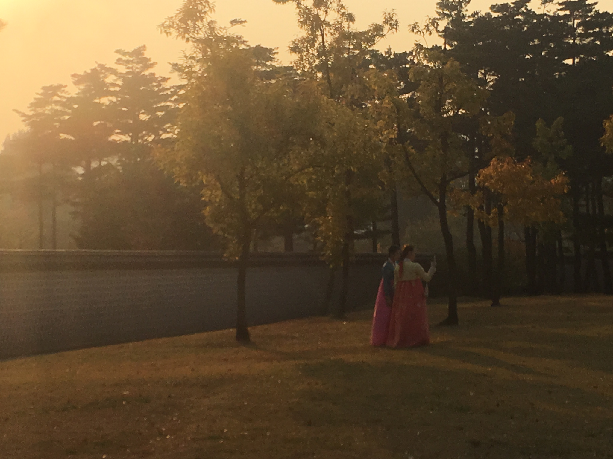 Selfies in traditional hanbok at Gyeongbokgung palace