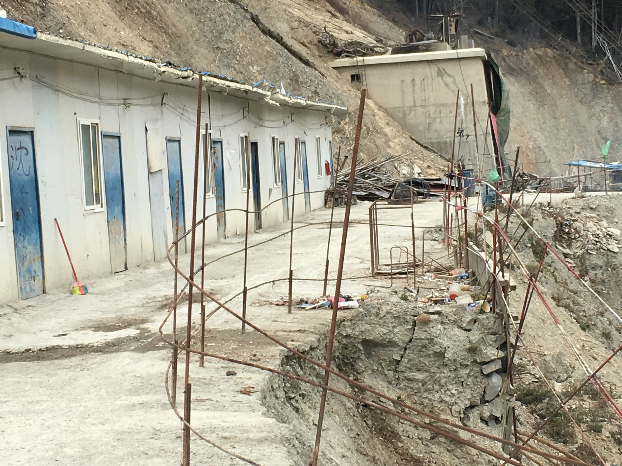 Workers' living quarters at the construction site