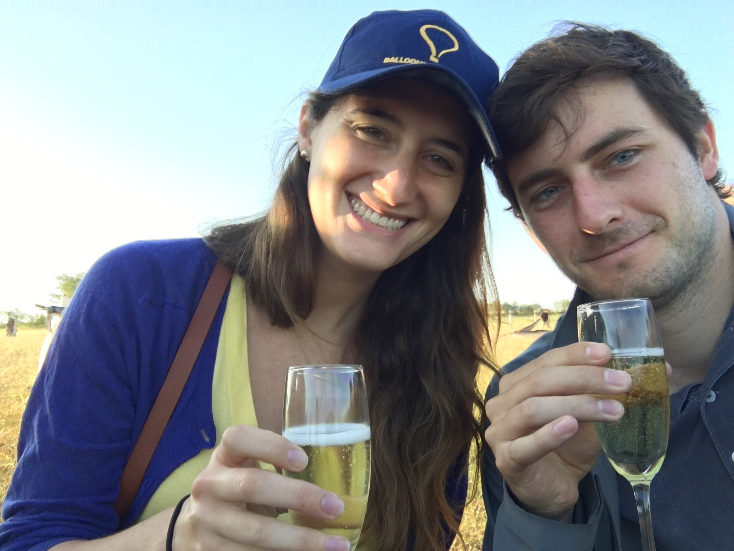 Champagne to celebrate a successful balloon ride
