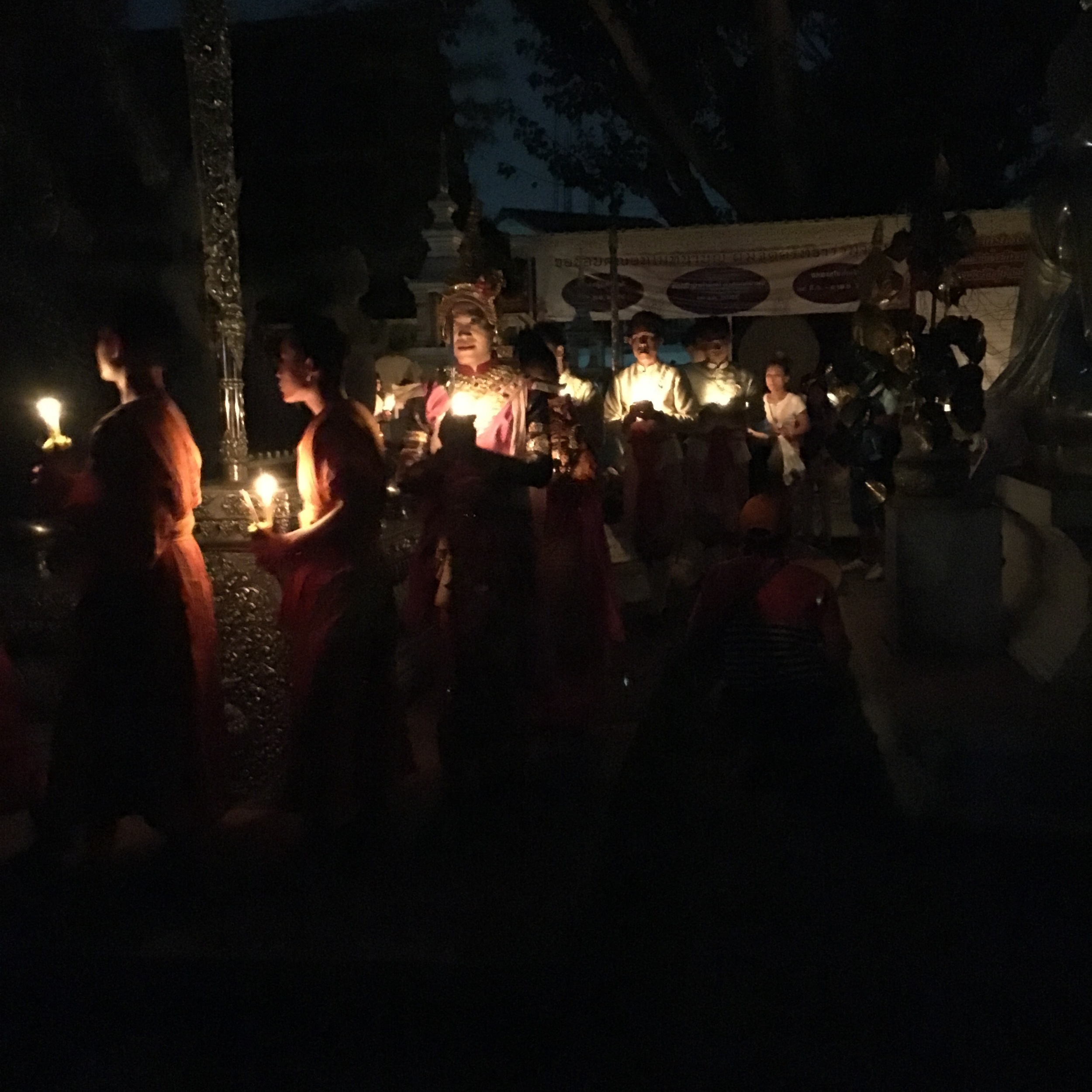 Candlelit procession at the monastery