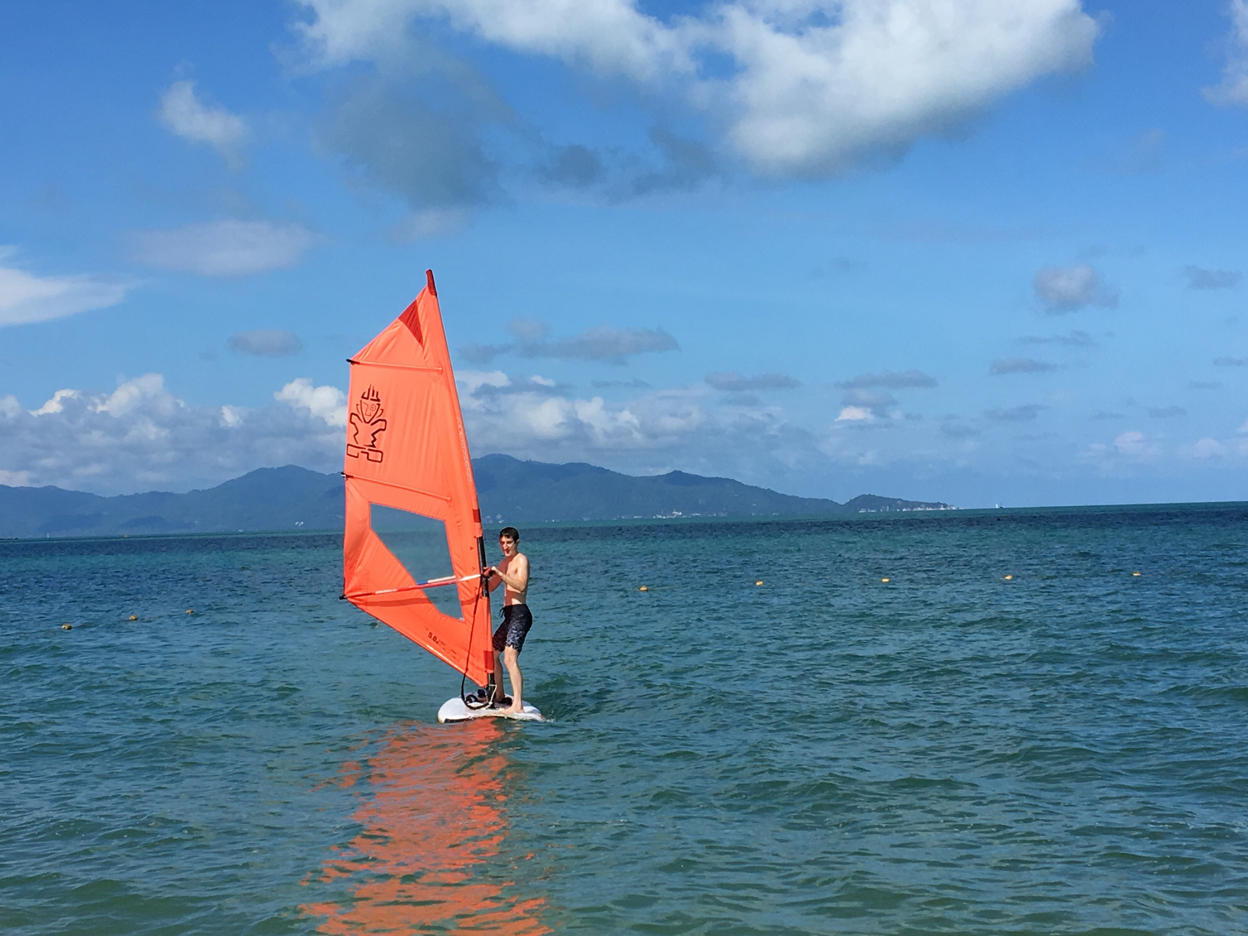 Scott learns to windsurf
