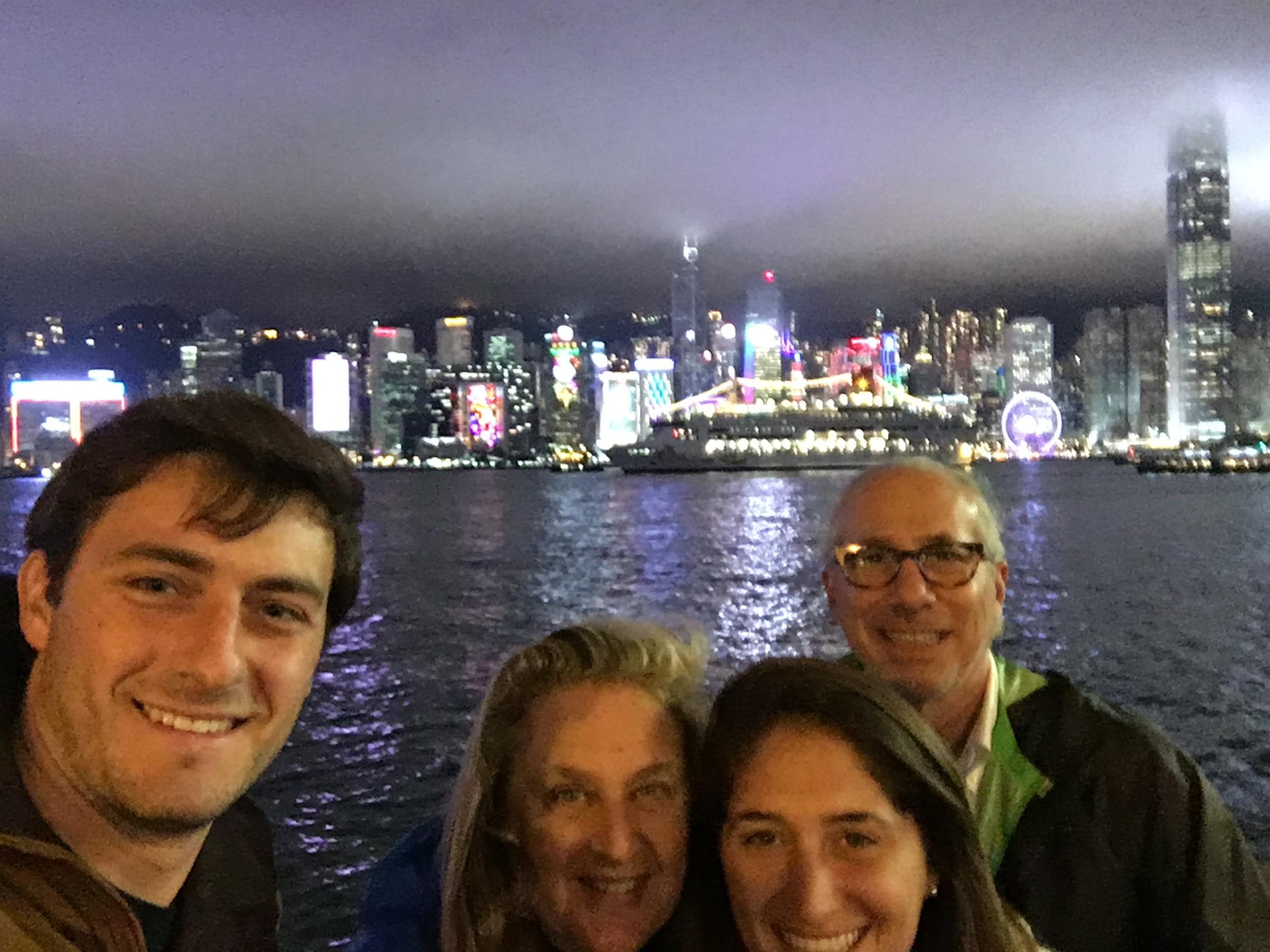 Family skyline selfie