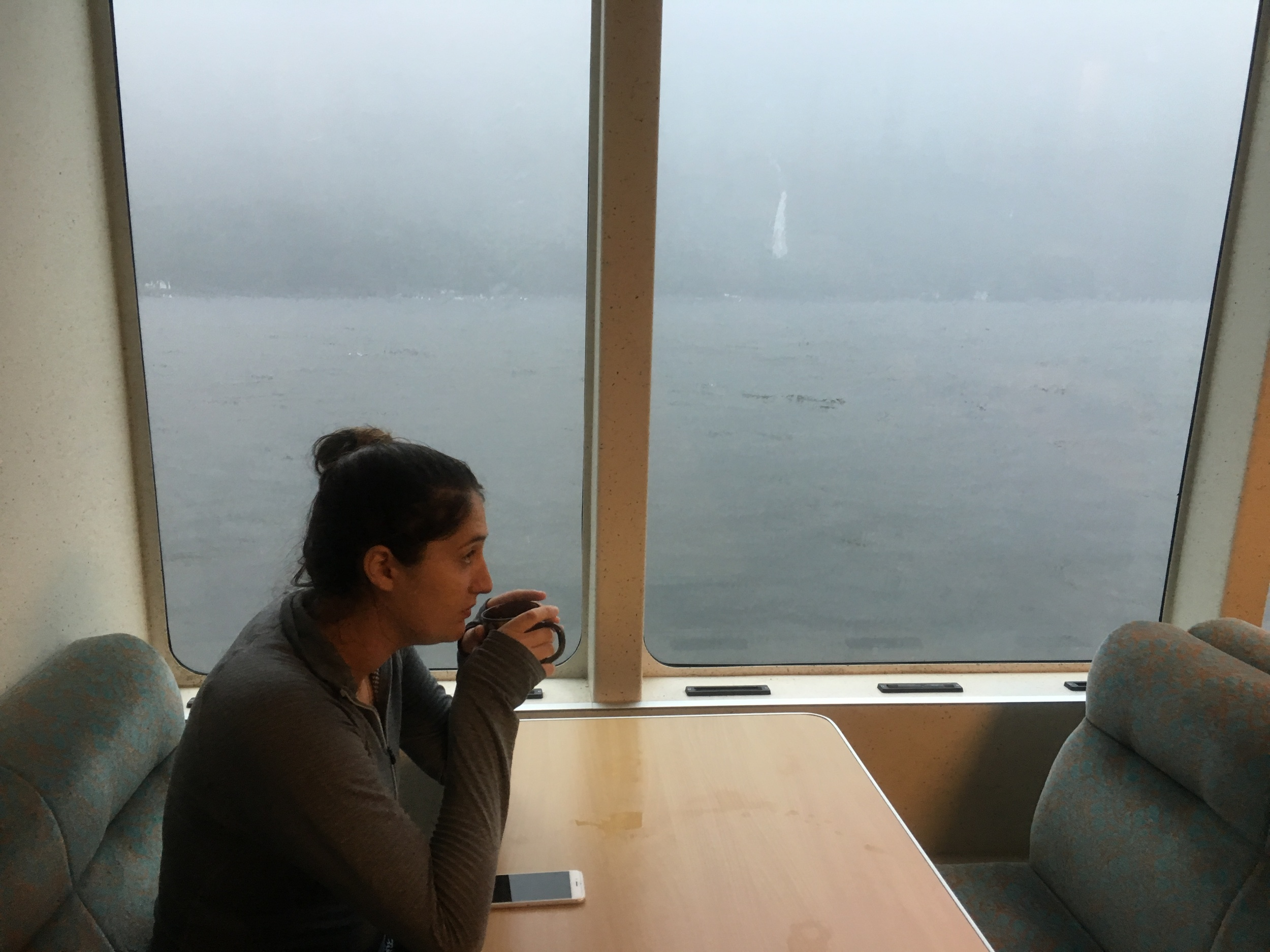Sipping tea on our Milford Sound cruise while it poured outside