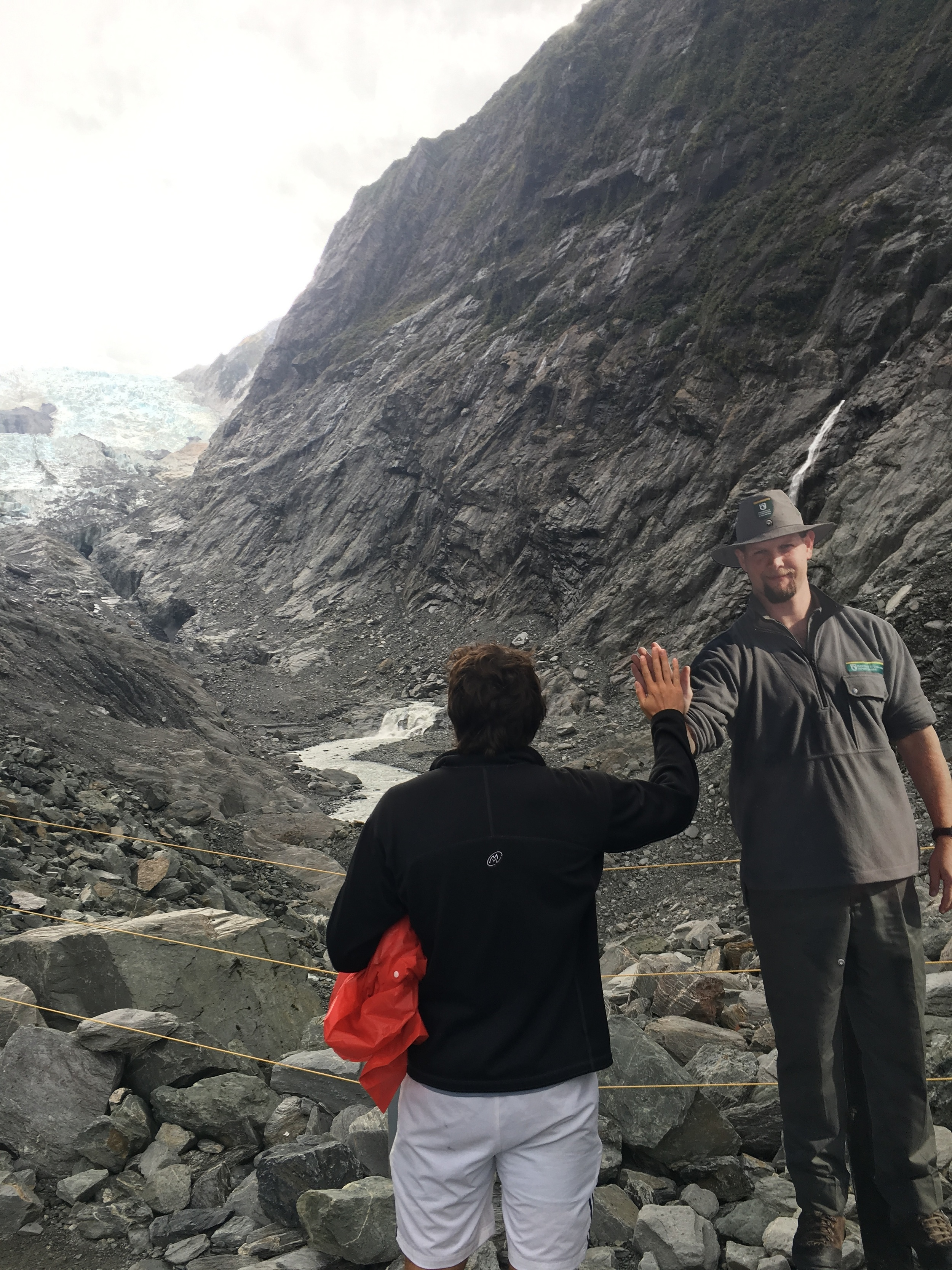 Faux ranger high five at Franz Josef Glacier
