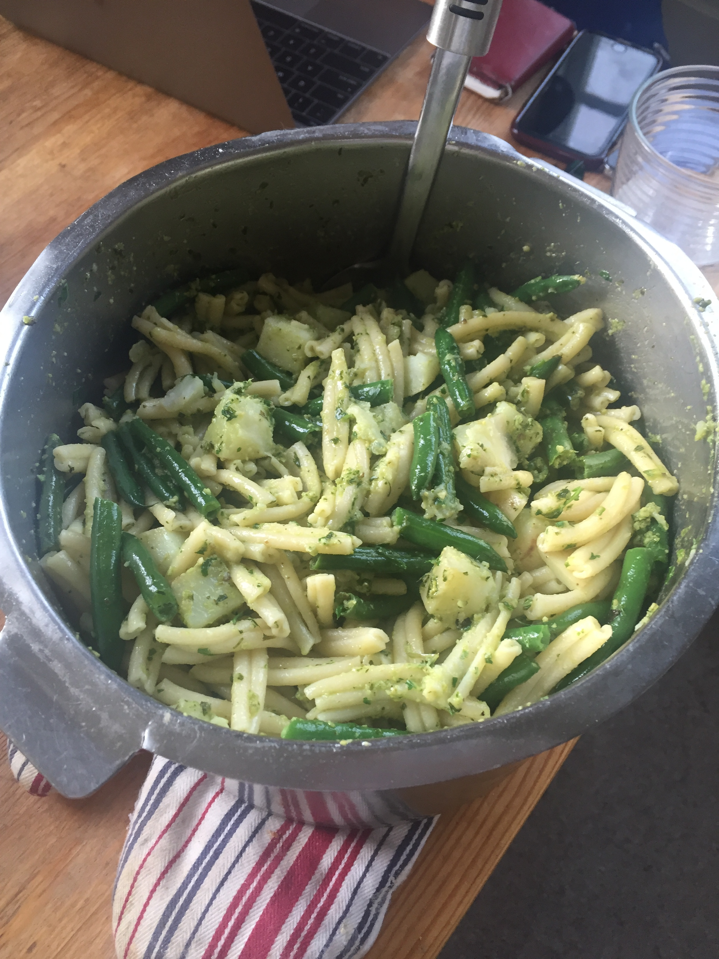 Pesto pasta with string beans + potatoes - one of many insanely fresh and delicious meals by Alex + Annabeth