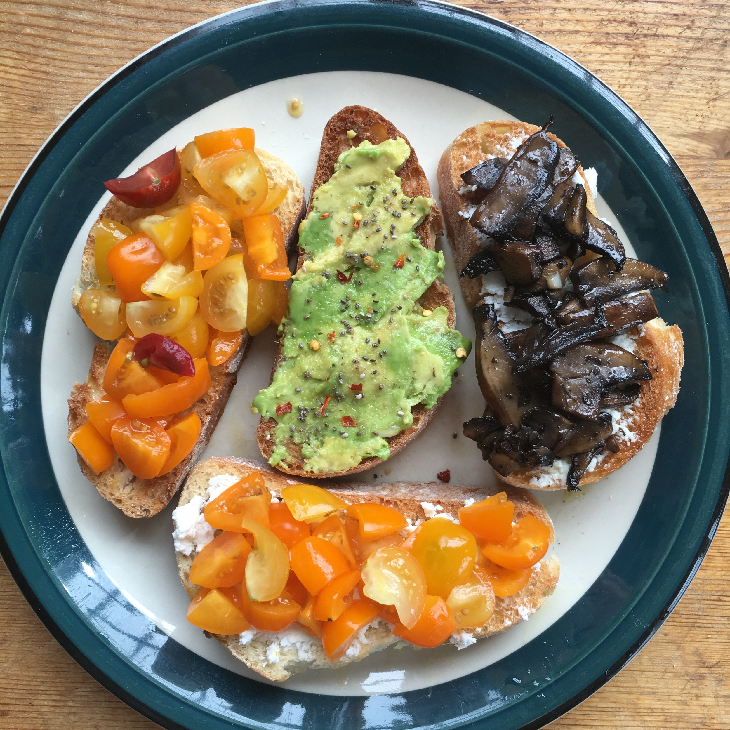 Homemade bruschetta + avo toast