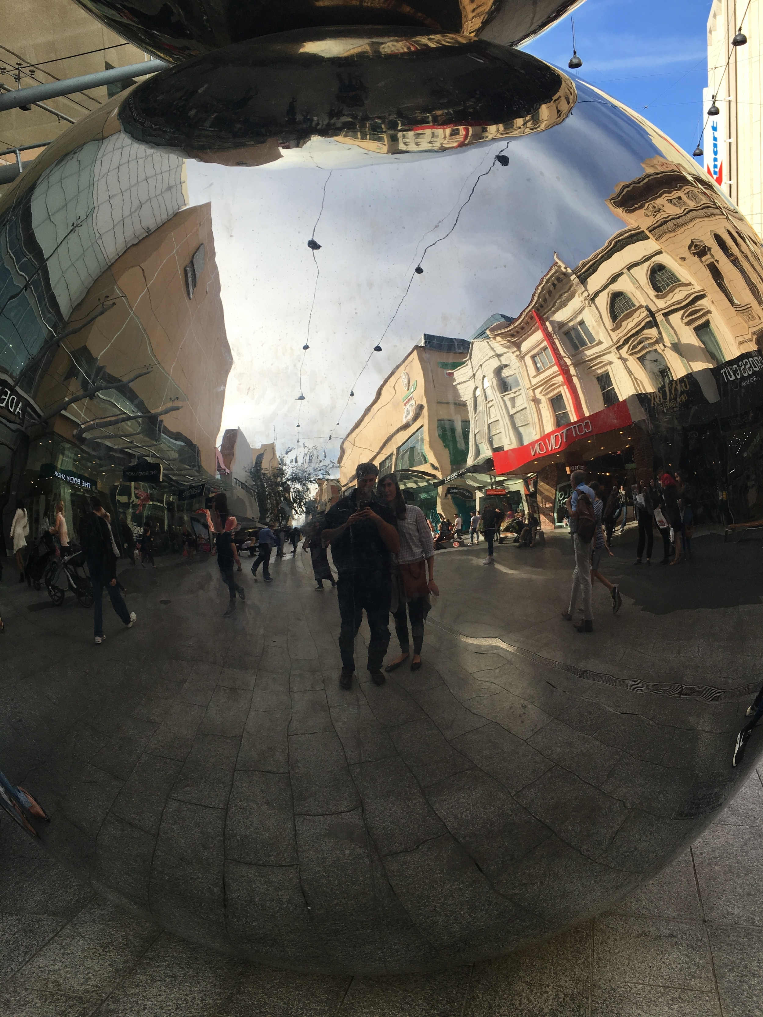 Rundle St Mall Mirror Ball Selfie