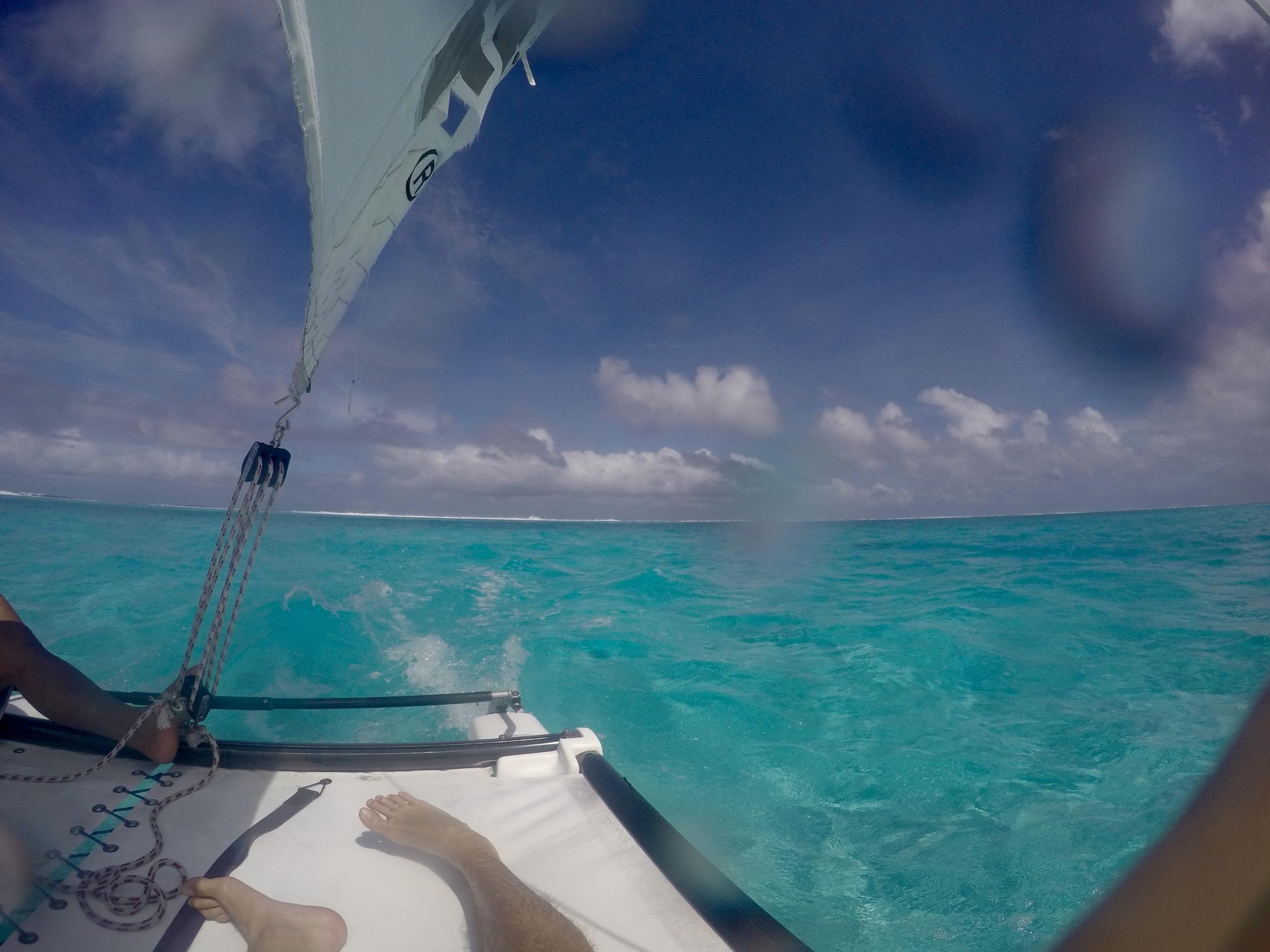 Catamaran on the lagoon
