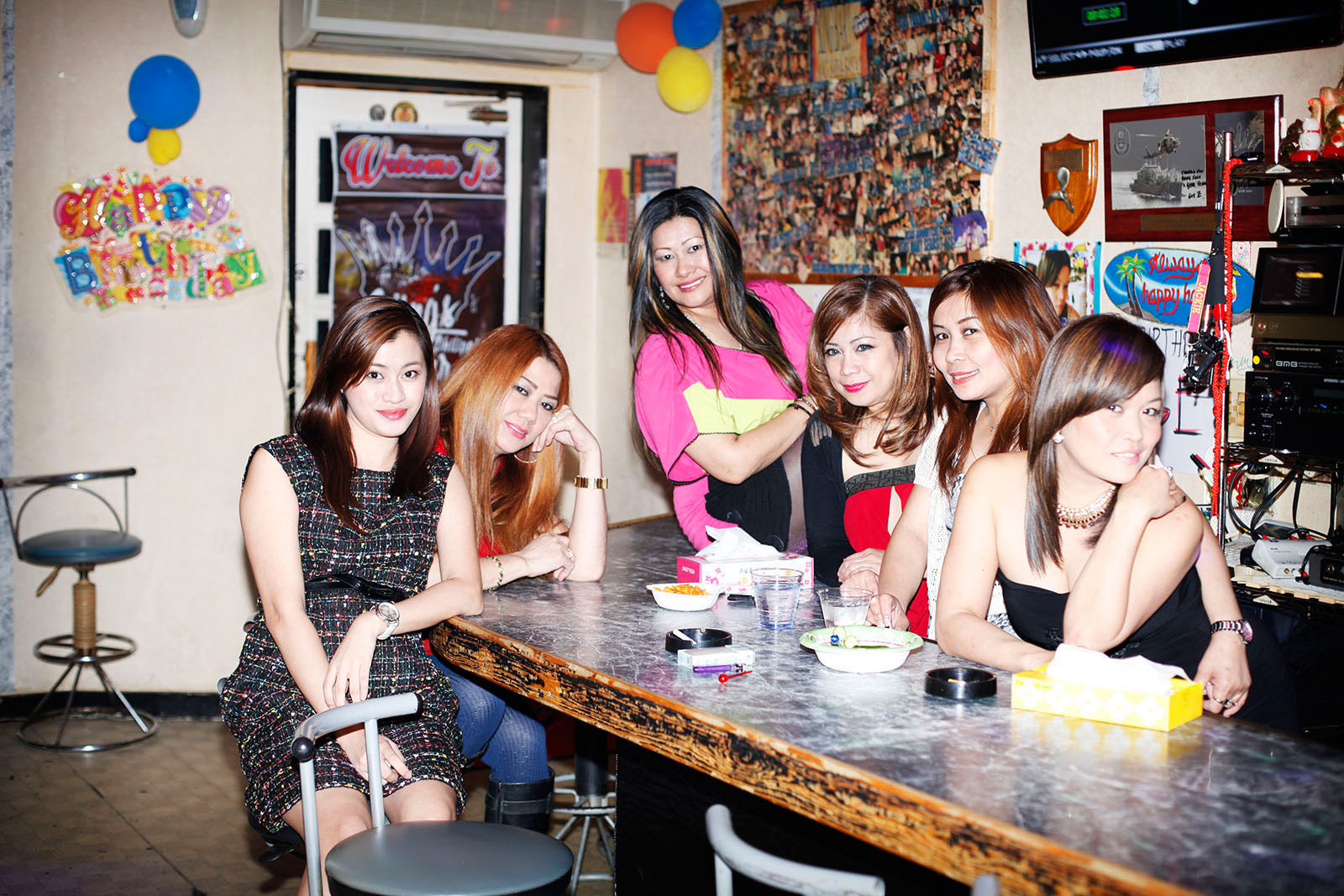 Filipino women in sailor town's bar Sasebo, Japan 2015