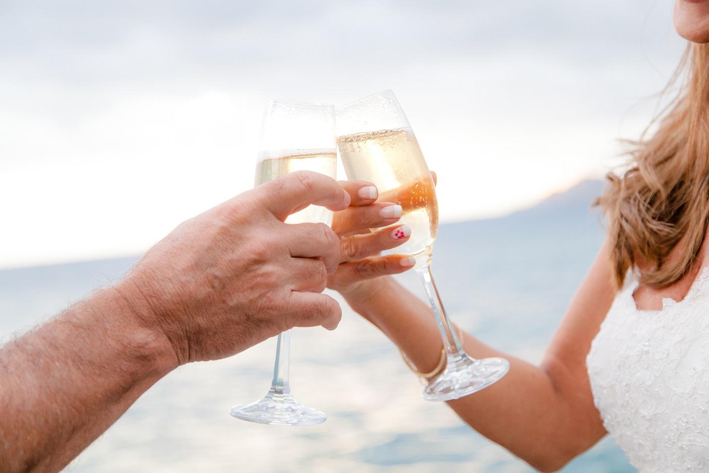 champagne toast beach wedding ceremony