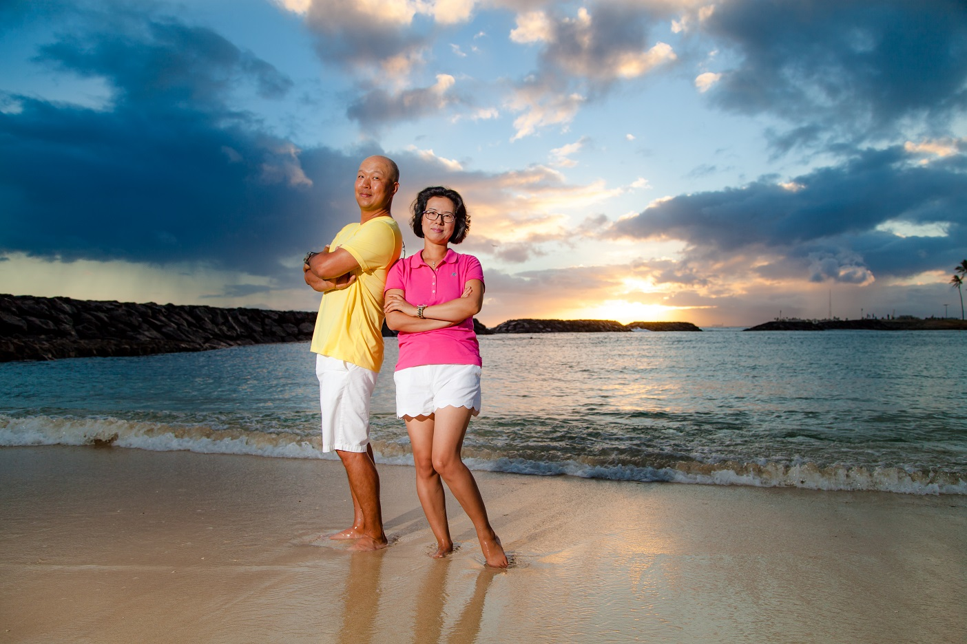 magic island oahu couples beach portrait