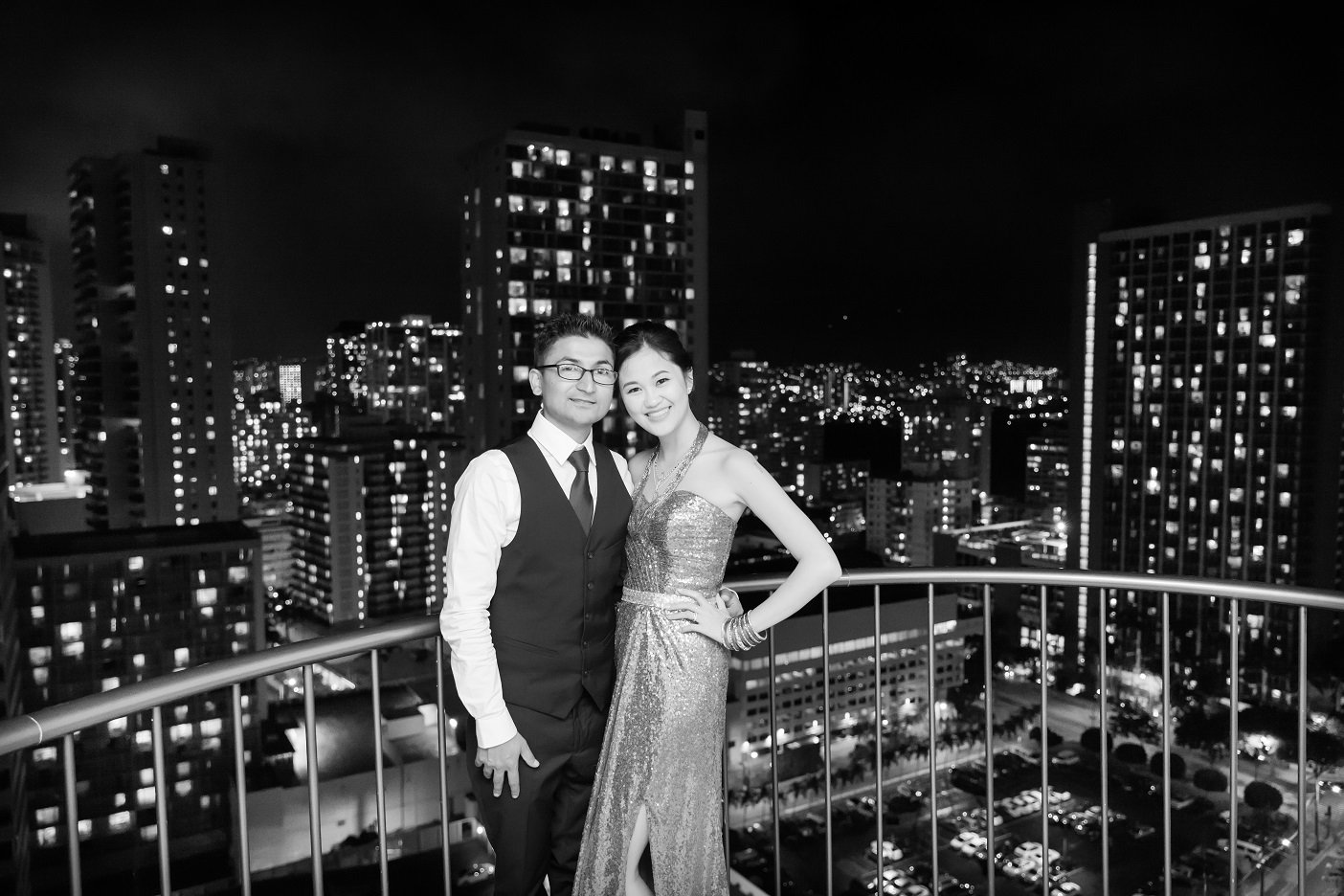 waikiki engagement ceremony hotel black white