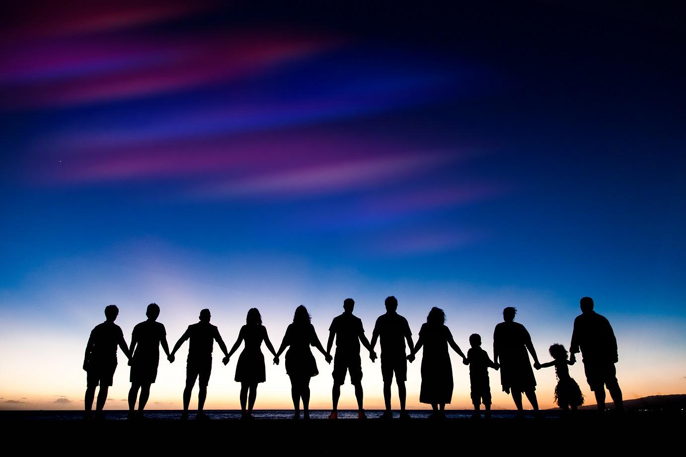 oahu family beach silhouette