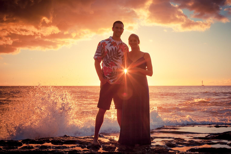 pregnant baby couple sunset beach portrait