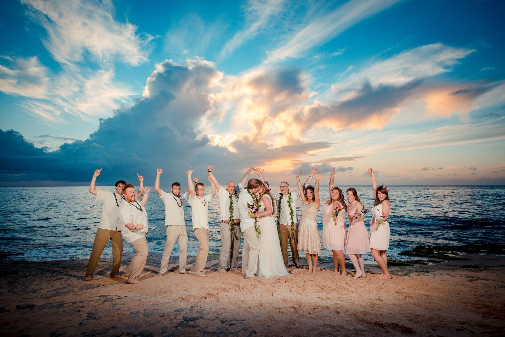 bridal party north shore beach wedding
