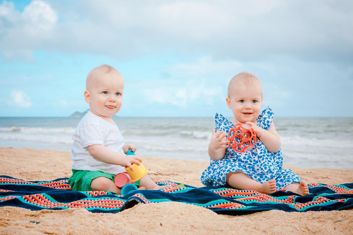 babies kids children beach portrait blanket towel oahu hawaii portrait
