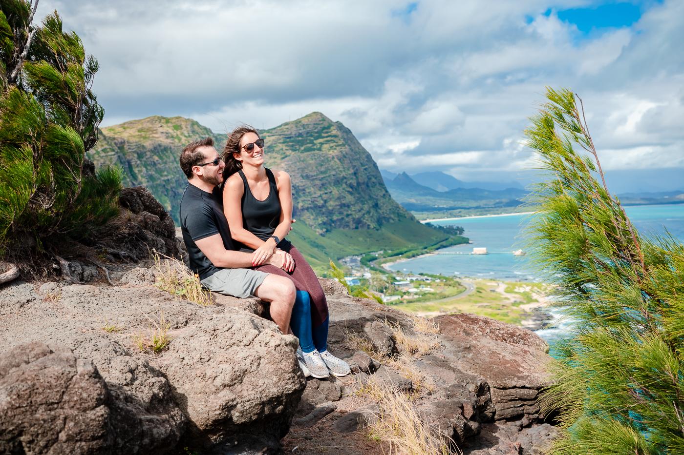 couples proposal photo shoot oahu hawaii ridge trail
