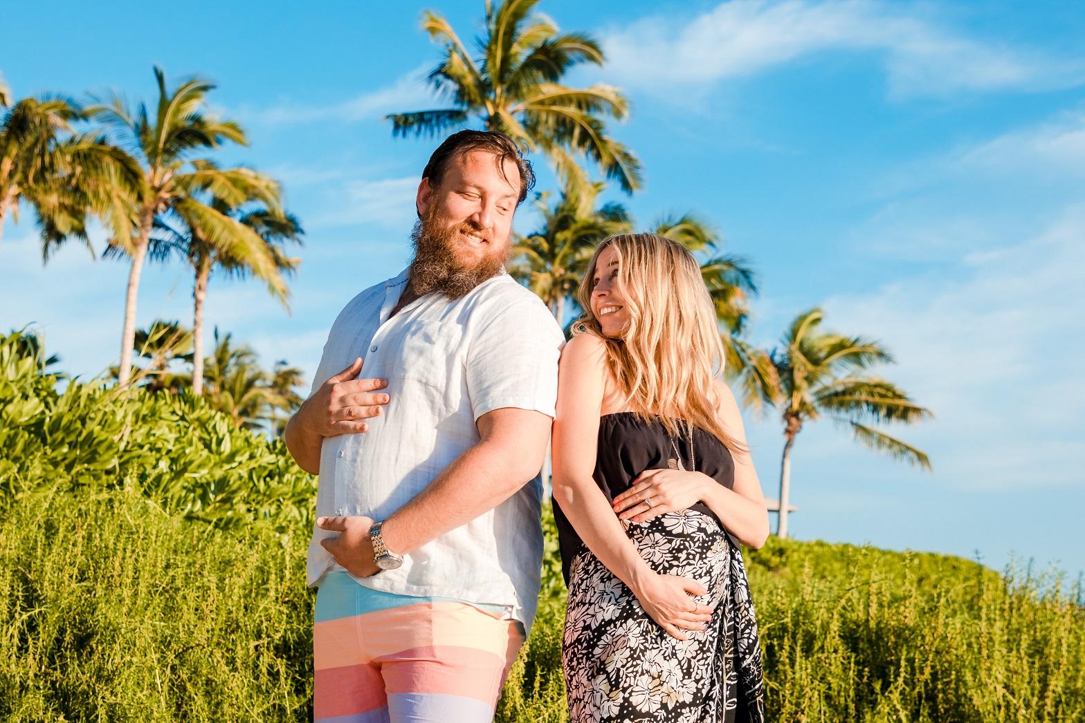oahu family maternity beach portrait palm trees hawaii