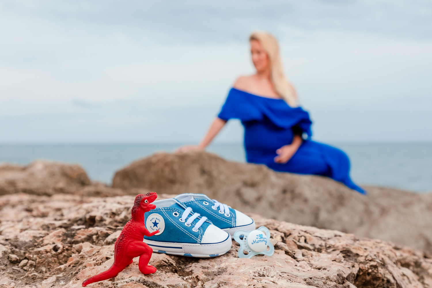 oahu maternity sunset portrait baby shoes beach ocean