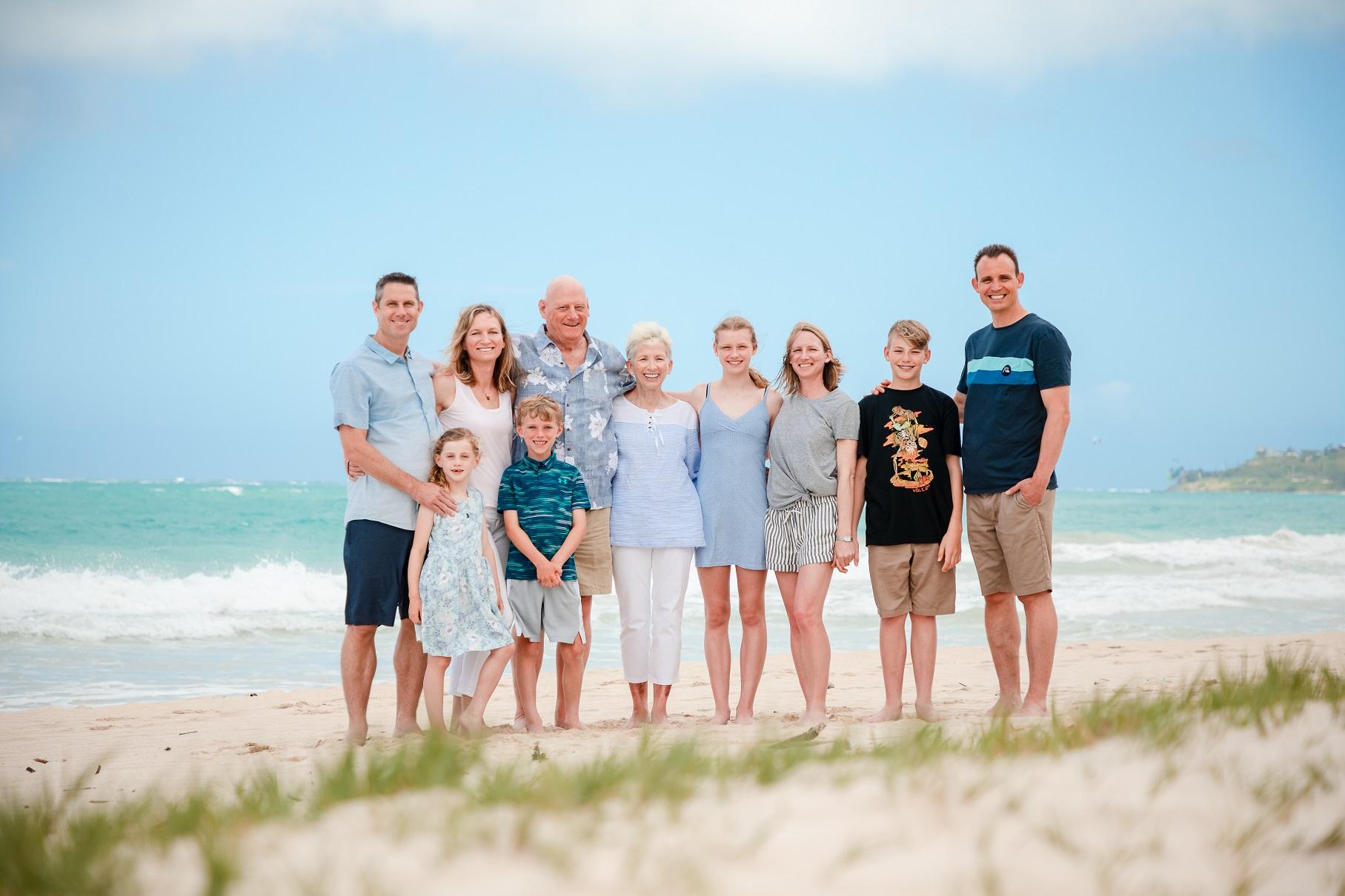family beach portrait kailua oahu hawaii sand ocean photographer
