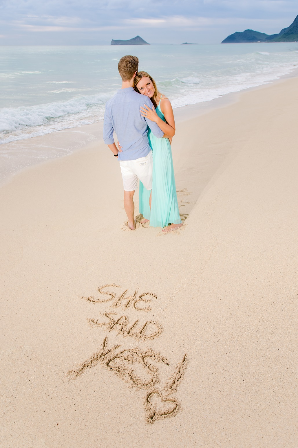 she said yes beach sand writing oahu surprise proposal