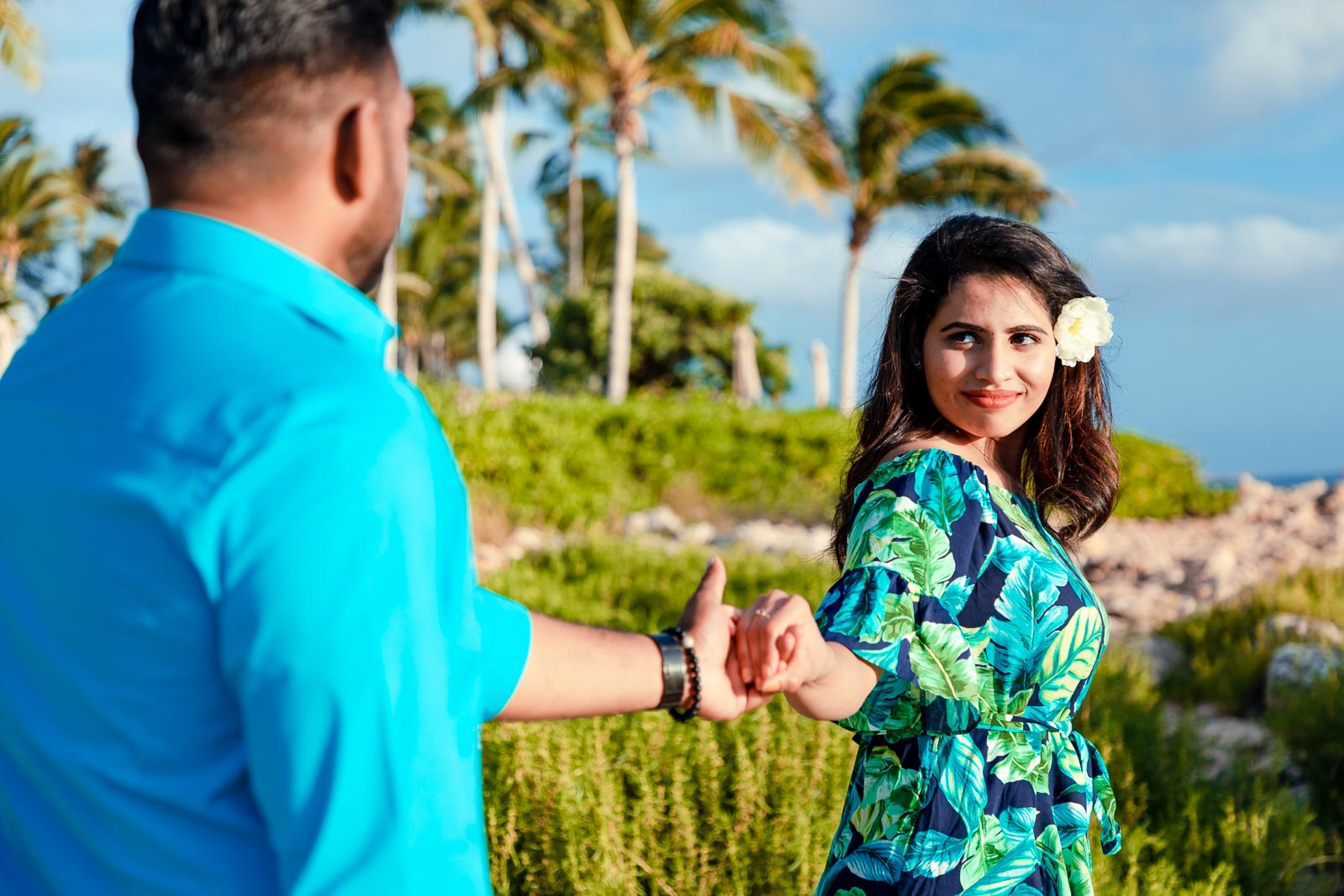 couples engagement surprise proposal photography sunset beach palm trees oahu maui hawaii