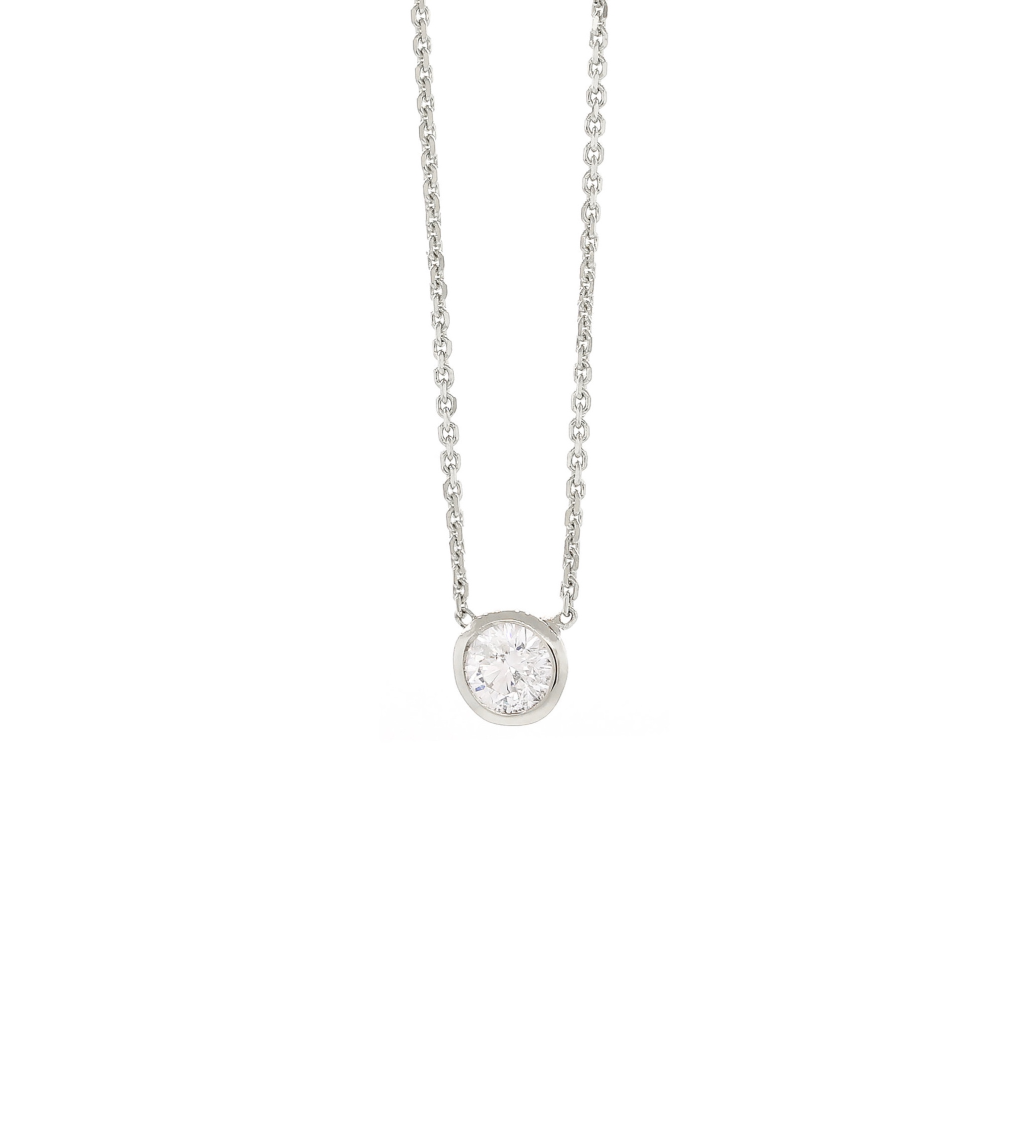 Diamond Solitaire Bezel Necklace New White Gold .jpg