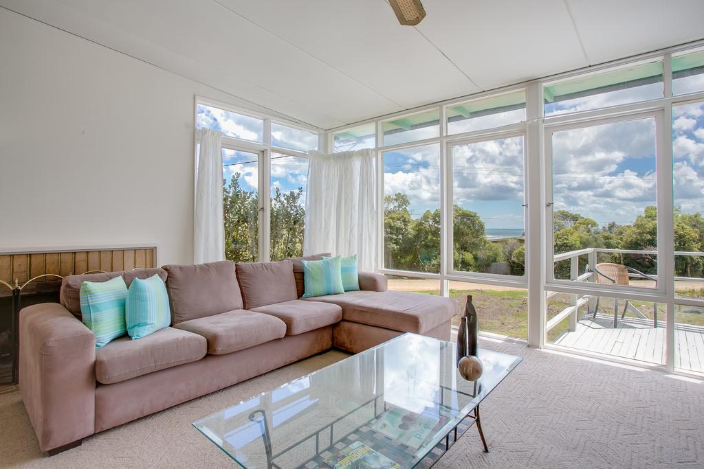 Lounge windows with bay views