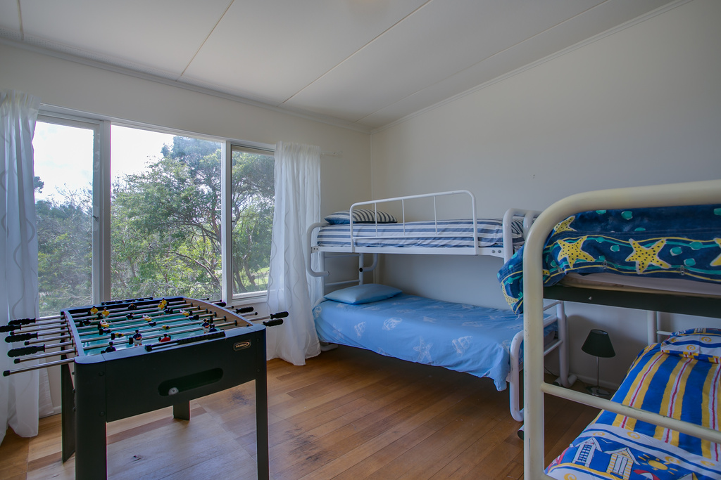 Bedroom 2 with 2 sets of bunks, sleeping 4. Bay views