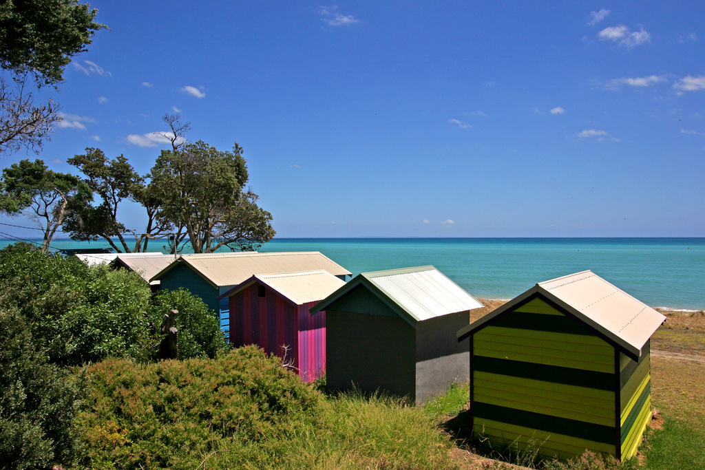 Dromana boat houses and beach