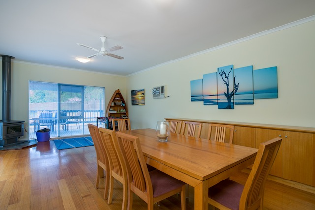 Dining area, Coonara log heater