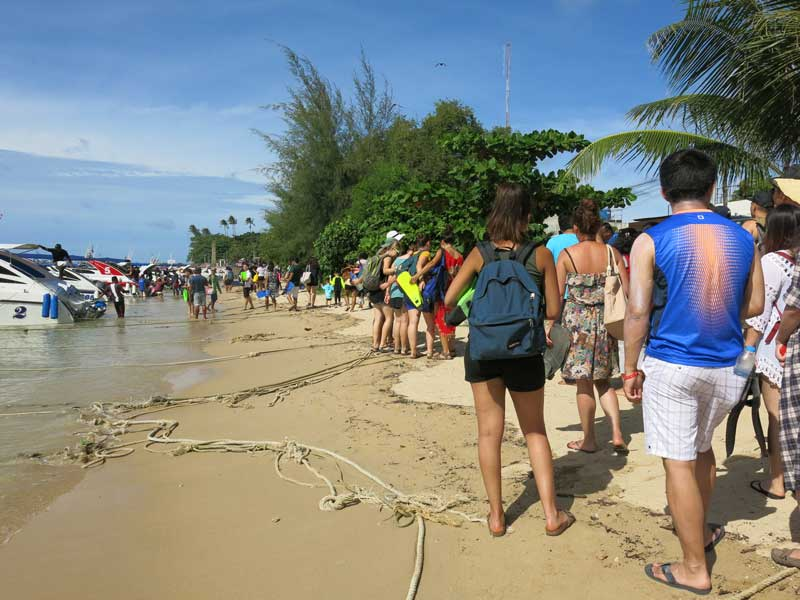 Tourists lining up in Ao Chalong for day trips to nearby islands. Up to 1000 people a day in high season.
